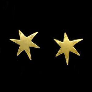 VTG 1980s Gold Tone Celestial Stars Stud Earrings